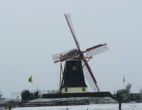 Mühle in Serooskerke im Winter